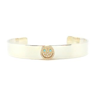 EYEME  Basic Flat wide Bangle With Blue Eyes smile Head Full Diamond/K18YG SILVER925