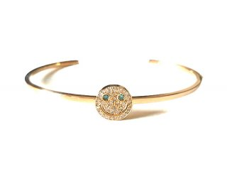 EYEME  Basic Flat Narrow Bangle With Blue Eyes smile Head Full Diamond/K18YG