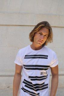 Xristoffer クライストファー WAVES WHITE T-SHIRTS  ウェイブス  ボーダー ロゴ Tシャツ ホワイト