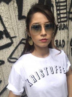 Xristoffer クライストファー HI STANDARD WHT×BLK ブランド アーチロゴ Tシャツ ホワイト×ブラック