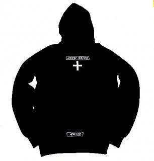 XRISTOFFER クライストファー WHITE CROSS BLACK HOODY  バック クロス  刺繍 オリジナル  フーディー パーカー ブラック