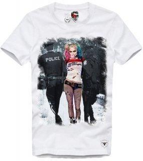 日本未入荷 UK発 E1SYNDICATE イーワンシンジケート Tシャツ HARLEY QUINN RIOT ハーレークィン バットマン フォト パロディー コラボ プリント  関税込