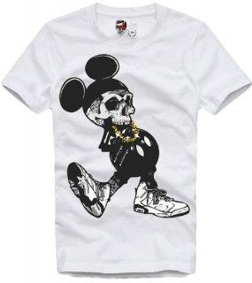 新作 日本未入荷 E1SYNDICATE イーワンシンジケート Tシャツ ディズニー ミッキー スカル パロディー フォト コラボ プリント 関税込