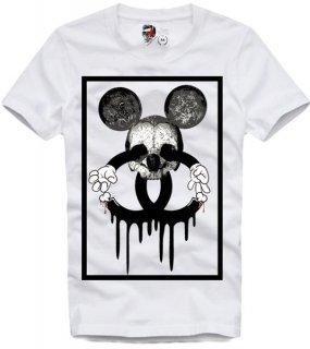 新作 日本未入荷 E1SYNDICATE イーワンシンジケート Tシャツ ディズニー ミッキー スカル シャネル ロゴ パロディー フォト コラボ プリント 関税込
