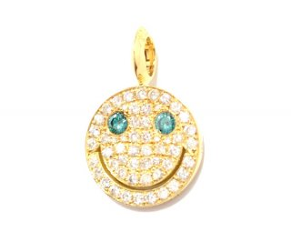 EYEME Blue Eyes smile Pendant Head Large Full Diamond/K18YG