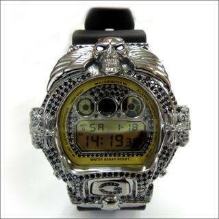 CASIO G-SHOCK カシオ Gショック DW6900MR-1 スカル シルバー925 ブラックメッキ CZダイヤ 515個