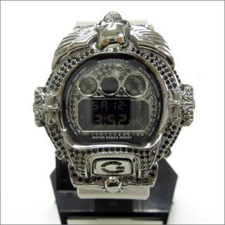 CASIO G-SHOCK カシオ Gショック DW6900NB シルバー925 ブラックメッキ ブラックCZダイヤ 515ピース