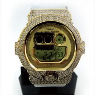 CASIO カシオ Baby-G ベビーG BG-6901 白 カスタム 腕時計 シルバー925 YGメッキ CZダイヤ 502石