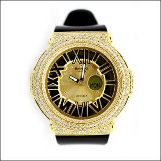 CASIO カシオ Baby-G ベビーG BGA-160-1 カスタム腕時計 シルバー925 YGメッキ CZダイヤ 522石