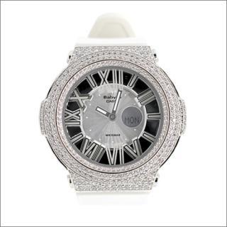 CASIO カシオ Baby-G ベビーG BGA-160 カスタム腕時計 シルバー925 プラチナメッキ CZダイヤ 522石