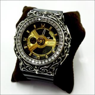 CASIO カシオ Baby-G ベビーG BA-110 カスタム 腕時計 クロムハーツ型 シルバー925 CZダイヤ 40石