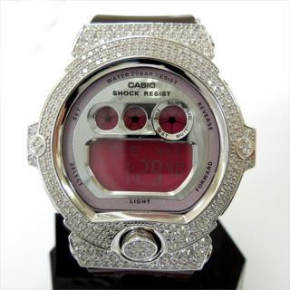 CASIO カシオ Baby-G ベビーG カスタム 腕時計 BG-6900 シルバー925 プラチナメッキ CZダイヤ 504石