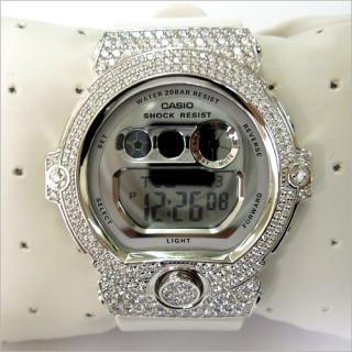 CASIO カシオ Baby-G ベビーG BG-6900 白 カスタム 腕時計 シルバー925 プラチナメッキ CZダイヤ 504石