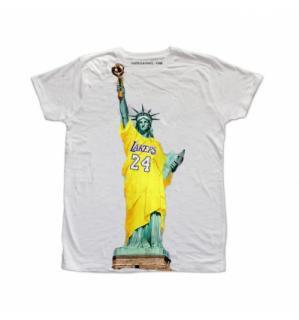 日本未入荷 イタリア発 RUDE Tシャツ レイカーズ 自由の女神 フォト パロディー プリント オフホワイト  関税込 モデル セレブ愛用