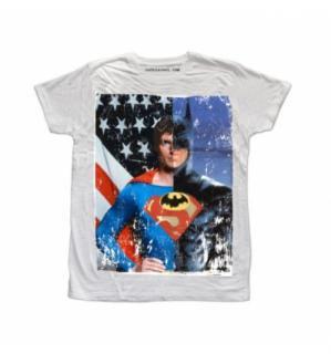 日本未入荷 イタリア発 RUDE Tシャツ スーパーマン バットマン フォト パロディー プリント オフホワイト  関税込 モデル セレブ愛用