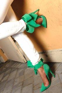 日本未入荷 ブロガー セレブ愛用 Aminah Abdul Jillil アミナ アブドゥル ジリ リボン ハイヒール BOW PUMP Green グリーン 関税込