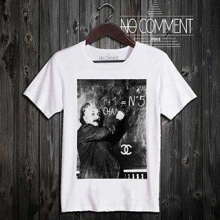 日本未入荷 パリ発 No Comment Paris アインシュタイン フォト パロディ Tシャツ 2型 プリント ホワイト  関税込 モデル セレブ愛用