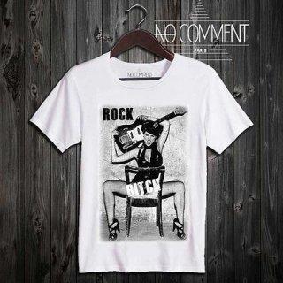 日本未入荷 パリ発 No Comment Paris ROCK BITCH ヌード フォト パロディ Tシャツ プリント ホワイト  関税込 モデル セレブ愛用
