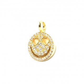 EYEME Heart Eyes smile Pendant Head Full Diamond/K18YG