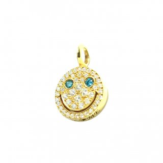EYEME  Blue Eyes smile Pendant Head Full Diamond/K18YG