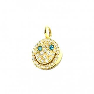 EYEME  Blue Eyes smile Pendant Head Full Diamond/K18YG