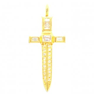 EYEME  Diamond Cross Dagger Pendant Head/K18YG
