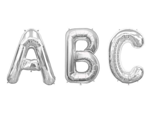 """A"" - ""Z"" アルファベット フォイルバルーン シルバー 30cm-north star ballons"