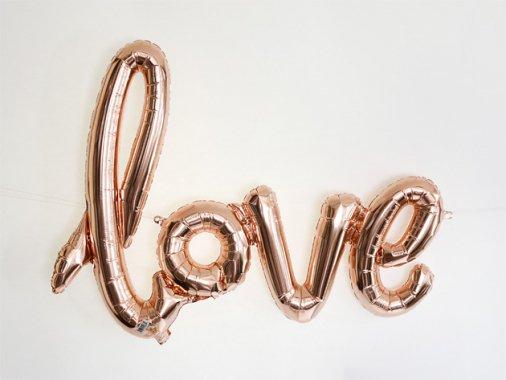 """""""love"""" フォイルバルーン レターバナー ローズゴールド W75cm"""