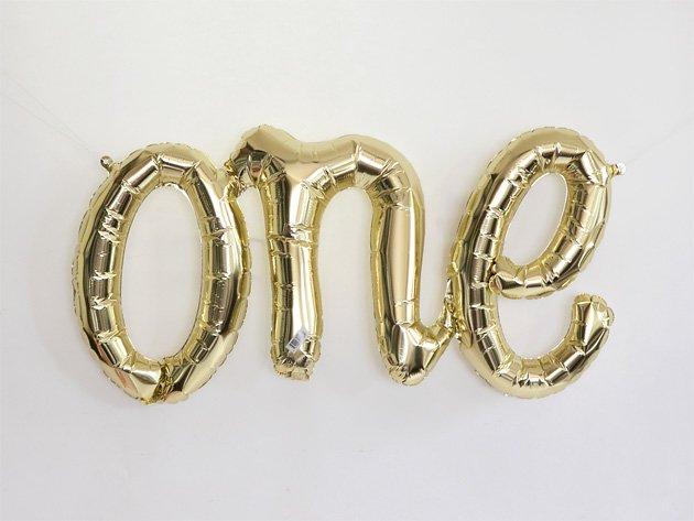 """""""one"""" フォイルバルーン レターバナー ゴールド W75cm"""