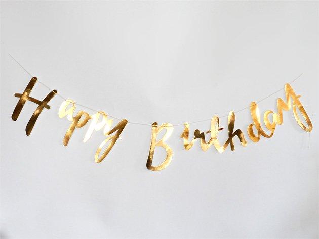 【近日再入荷】Happy Birthday スクリプトバナー メタリックゴールド - Ginger Ray