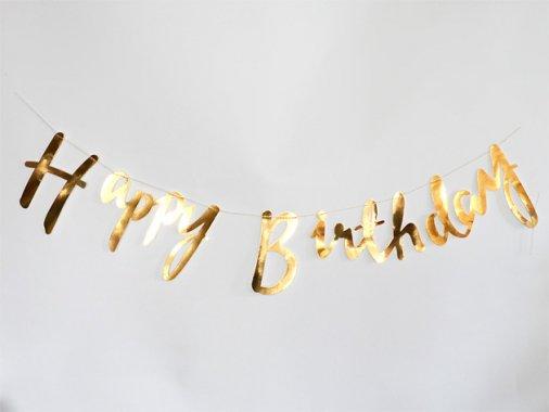 【誕生日】Happy Birthday スクリプトバナー メタリックゴールド - Ginger Ray
