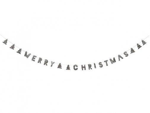 MERRY CHRISTMAS シルバーラメ バナー ガーランド- MeriMeri