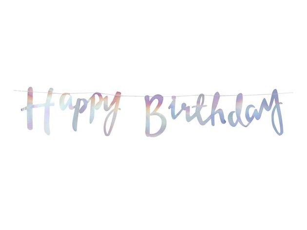 Happy Birthday スクリプトバナー イリディセントカラー - Ginger Ray