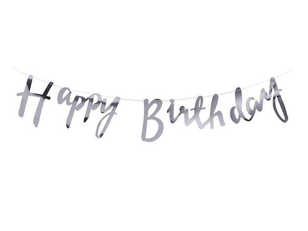 Happy Birthday スクリプトバナー メタリックシルバー - Ginger Ray