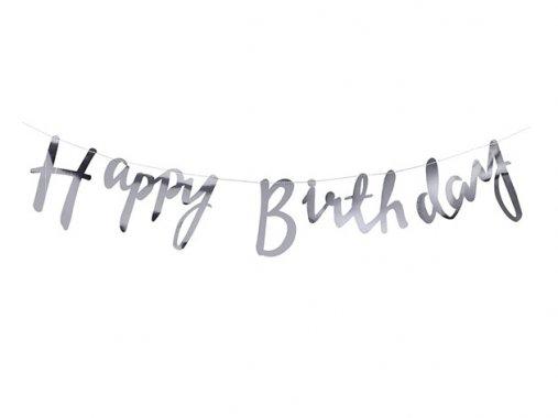 【誕生日】Happy Birthday スクリプトバナー メタリックシルバー - Ginger Ray
