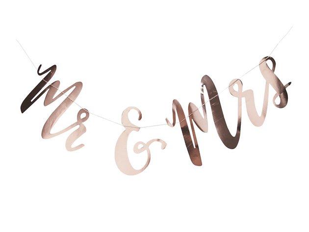 Mr & Mrs ガーランド ローズゴールド - Ginger Ray