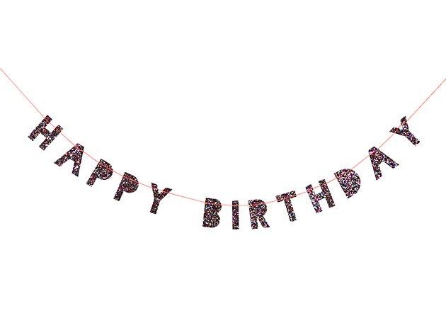 【誕生日】HAPPY BIRTHDAY カラフルグリッターラメ miniバナー ガーランド- MeriMeri