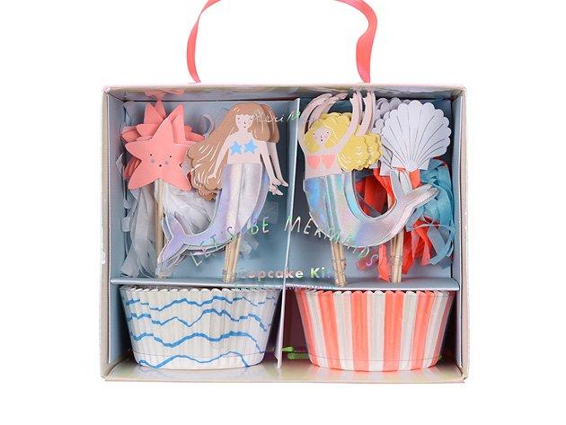 カップケーキキット Let's be mermaids カップ24枚・トッパー24本-MeriMeri
