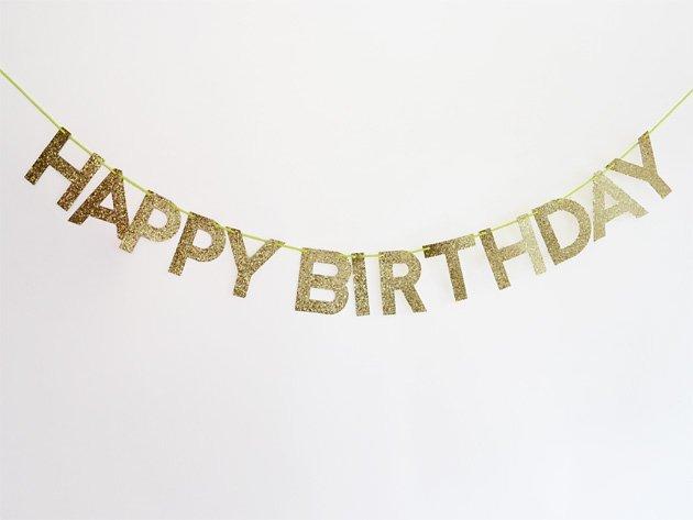 HAPPY BIRTHDAYバナー グリッターゴールド - MeriMeri