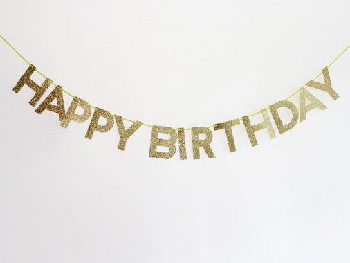 【誕生日】HAPPY BIRTHDAYバナー グリッターゴールド - MeriMeri