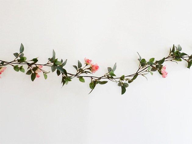 フェイクグリーン(ミニローズ)フラワー ガーランド-ピンク