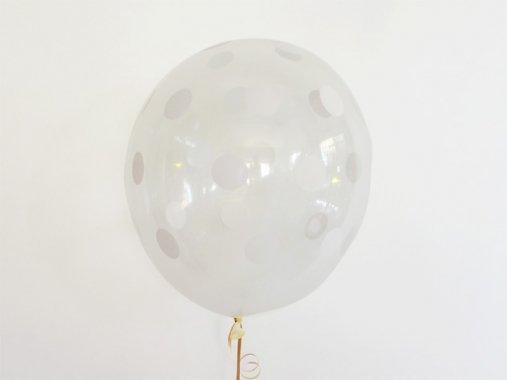 バルーン ポルカドット柄 ダイヤモンドクリア×ホワイト 11'R(23〜28cm)5枚入-Qualatex