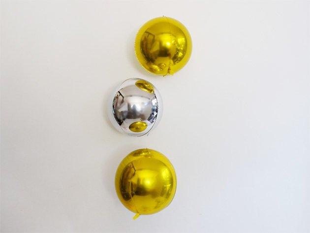 数量限定 メタリックGOLD 2個×SILVER 1個set フィルムバルーン 17.5cm ★送料無料★ガス入りプカプカバルーン