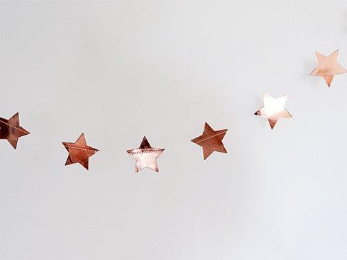 メタリックスターガーランド ローズゴールド 5m - Ginger Ray