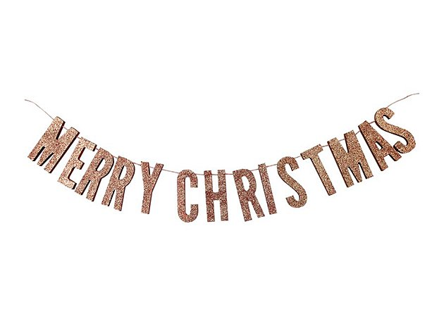 Christmas ウッド & グリッターゴールドバナー - Ginger Ray