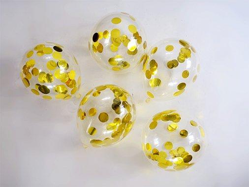 GOLD コンフェッティ入りminiバルーン 5'R(13cm)5枚入