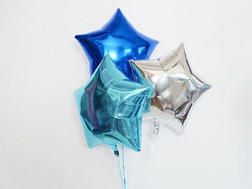 スター型フォイルバルーン【ブルーMIX】3個set 37.5cm ★送料680円★ガス入りプカプカバルーン