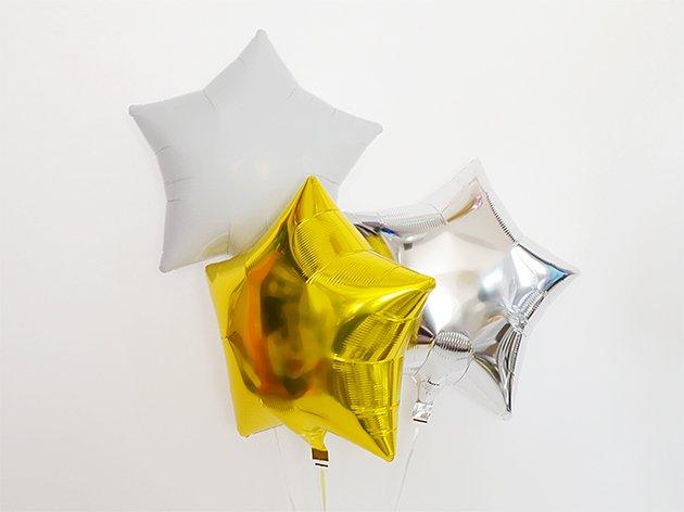 スター型フォイルバルーン【メタリックホワイト】3個set 37.5cm ★送料無料★ガス入りプカプカバルーン