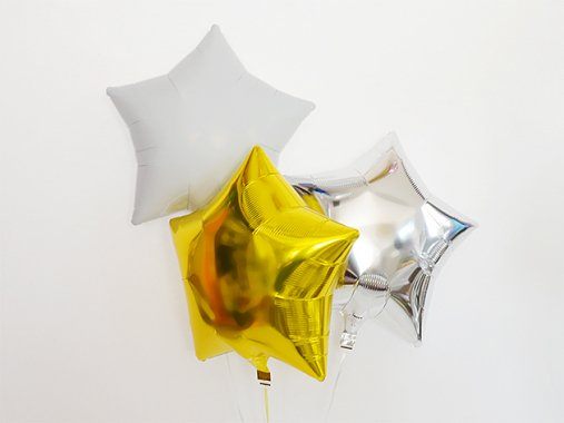 スター型フォイルバルーン【メタリックホワイト】3個set 37.5cm ★送料680円★ガス入りプカプカバルーン