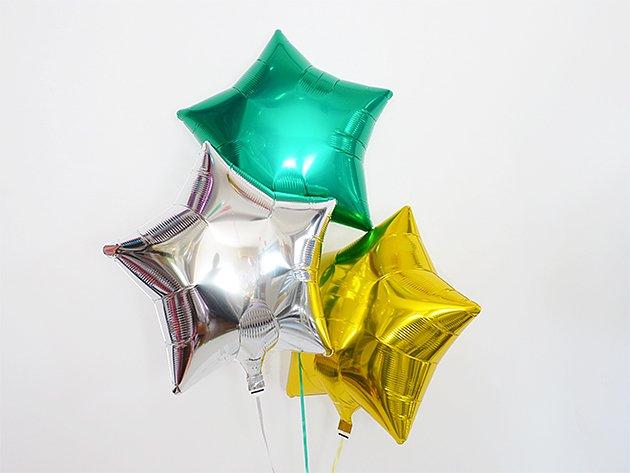 スター型フォイルバルーン【グリーンメタリック】3個set 37.5cm ★送料無料★ガス入りプカプカバルーン